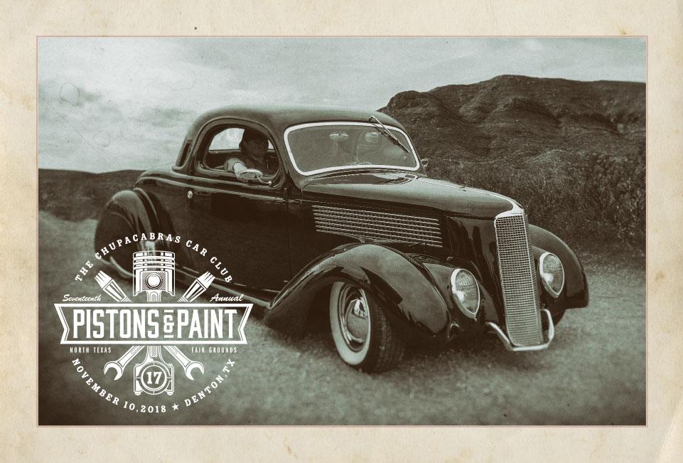 Pistons & Paint postcard